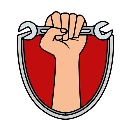 hand with wrench key in shield vector illustration design Stock Illustratie