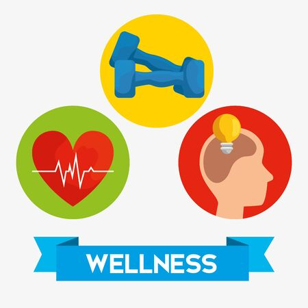 set labels with heartbeat and dumbbells with silhouette man vector illustration