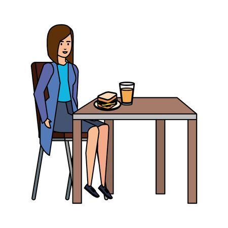 elegant businesswoman eating in table vector illustration design Zdjęcie Seryjne - 125166273