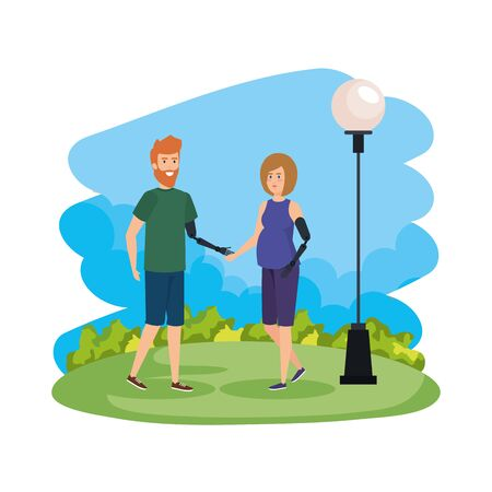 couple with arms prosthesis vector illustration design 일러스트