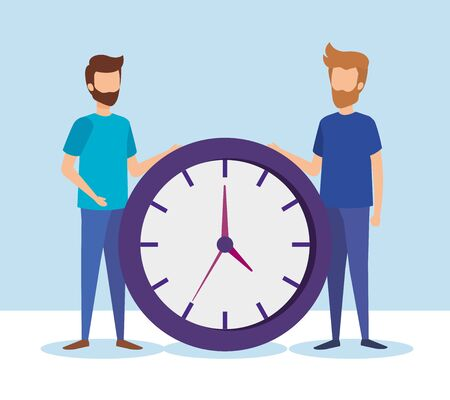 mini people with time clock vector illustration design Banque d'images - 125183243