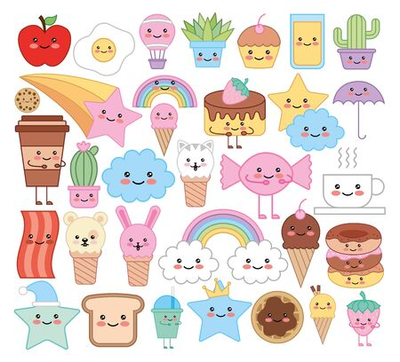 bundle of emojis animals and food characters vector illustration design