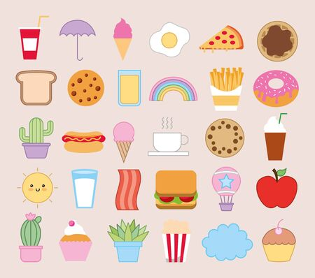 bundle of emojis bakery and fast food characters vector illustration design