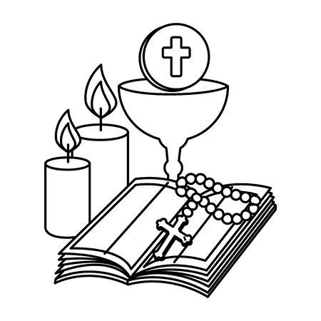 heilige bijbel met kelk en rozenkrans vectorillustratieontwerp