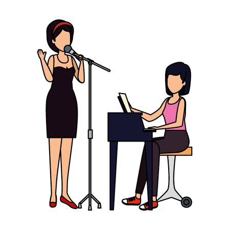 women playing grand piano and sing characters vector illustration design Archivio Fotografico - 125193160
