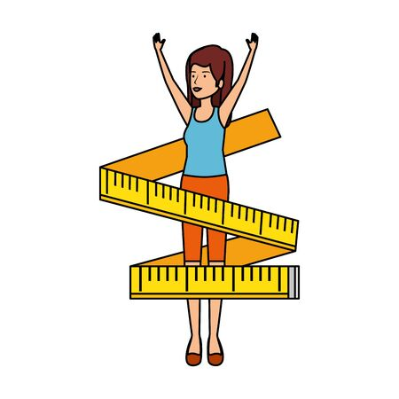 cute girl practicing exercice with tape measure vector illustration design
