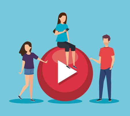 women and man with social video media information vector illustration