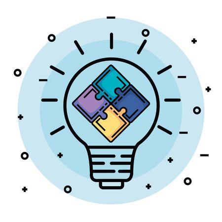 Idea de bombilla creativa con rompecabezas a la ilustración de vector de memoria