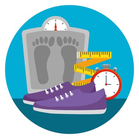 weighing machine with measuring tape and shoes vector illustration