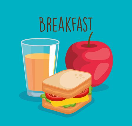 orange juice with apple and delicious sandwich vector illustration