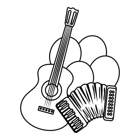 accordion with guitar and balloons helium vector illustration design