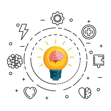 brain human with bulb and set icons vector illustration design