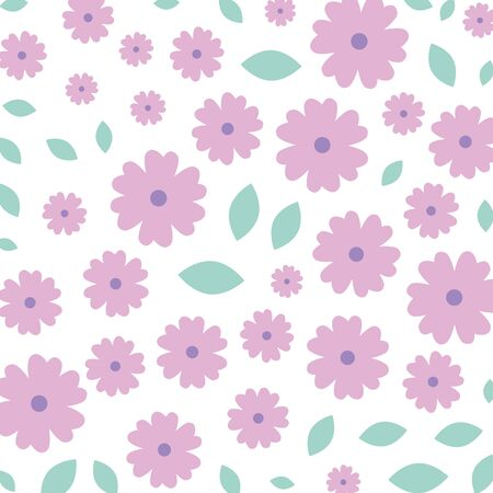 beautiful flowers with leafs decorative pattern vector illustration design Ilustracja