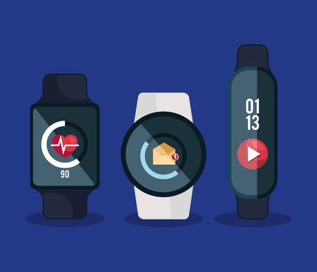 smartwatches technology with heartbeat and letter with video app vector illustration