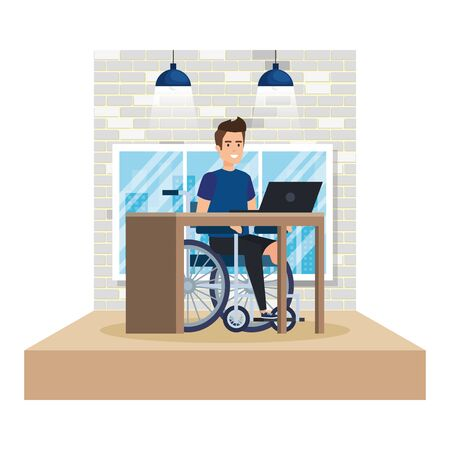 young man in wheelchair working in the office vector illustration design