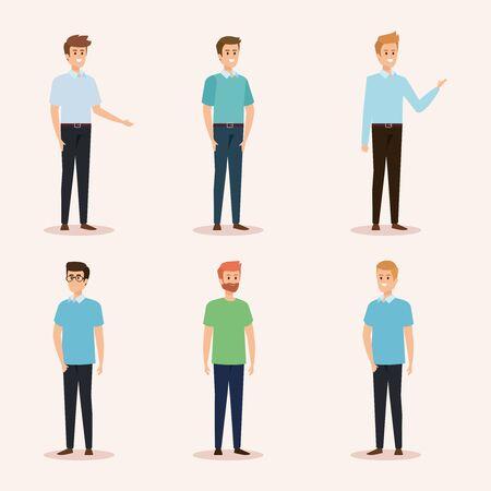 Satz nette Männer mit Frisur und Freizeitkleidung-Vektorillustration Vektorgrafik