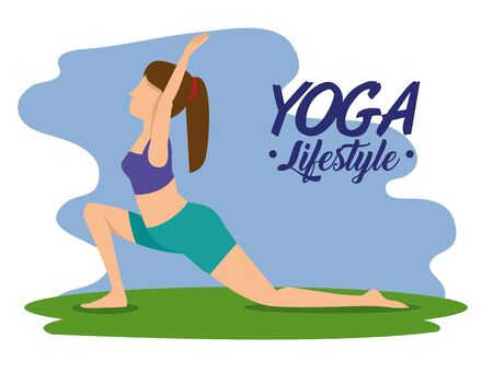 fitness woman practice yoga pose vector illustration