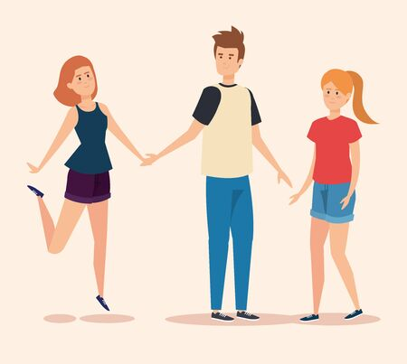 pretty girls and boy friends with casual clothes vector illustration Stock Illustratie