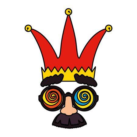 fools day mask glasses and mustache with joker hat vector illustration design Ilustração
