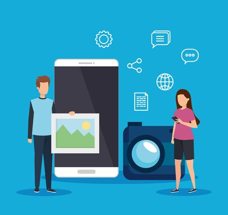 man and woman with social smartphone and camera technology vector illustration