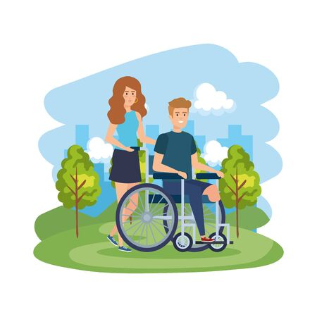 young man in wheelchair with female helper vector illustration design  イラスト・ベクター素材