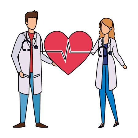 couple of professionals doctors with heart cardio vector illustration design Ilustrace