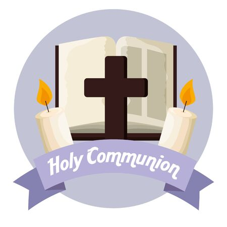 catholic bible with cross and candles to first communion vector illustration Illustration