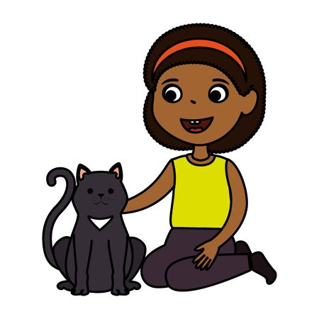 cute little black girl with kitty vector illustration design