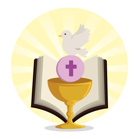 chalice with holy host and bible with dove vector illustration