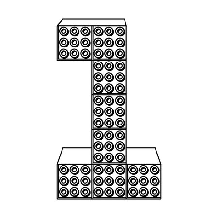 number one with toy pieces vector illustration design