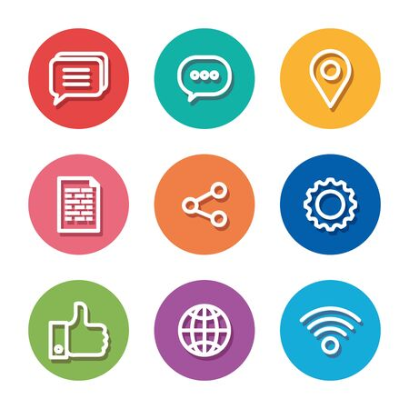 set of digital media technology with share and chat bubble vector illustration
