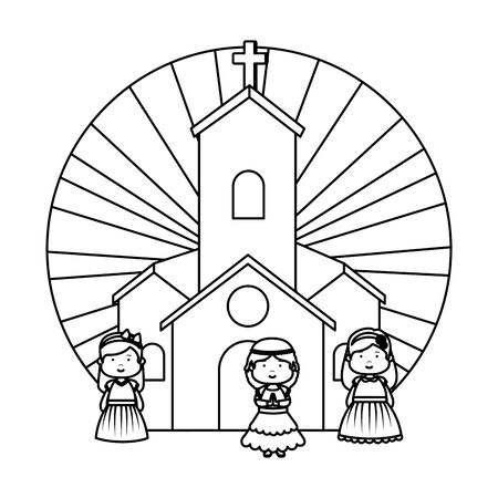 little girls in church first communion vector illustration design Stok Fotoğraf - 125286379