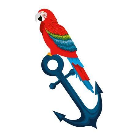 tropikalna i egzotyczna papuga w projekcie ilustracji wektorowych kotwicy