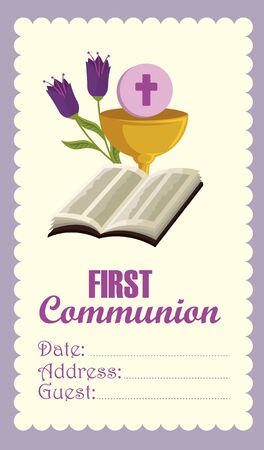 bible with chalice and holy host card to catholic event vector illustration
