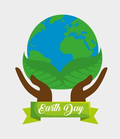 hands with planet and leaves to earth day vector illustration