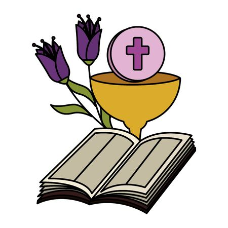 holy bible with chalice and flowers vector illustration design Foto de archivo - 125286396