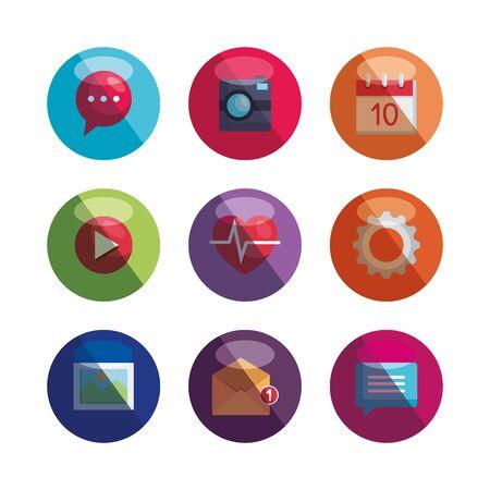 set of social media digital app technology vector illustration