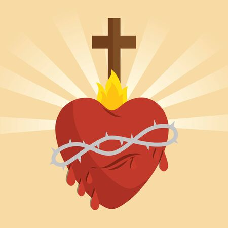 sacred jesus heart icon vector illustration design