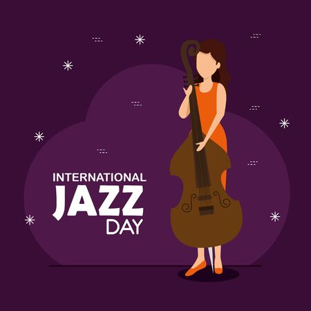 woman play cello to jazz day vector illustration