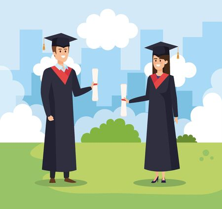 man and woman university graduation with rope and cap vector illustration Ilustrace