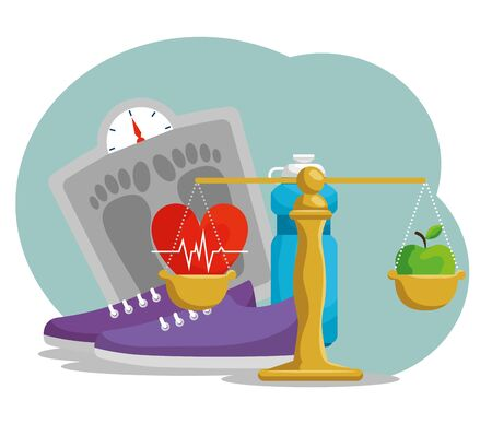 weighing machine with heartbeat and water bottle vector illustration Illustration