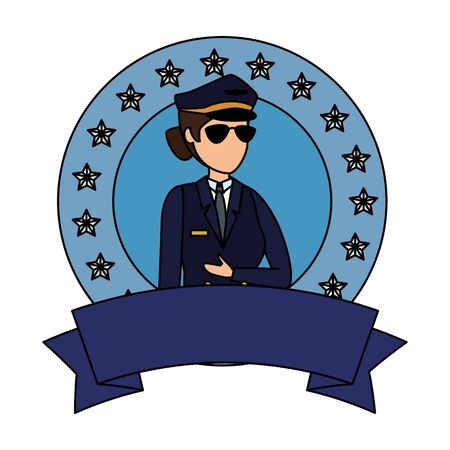 female aviation pilot avatar character vector illustration design Archivio Fotografico - 125286439