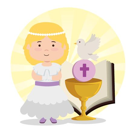 girl with chalice and bible to first communion vector illustration