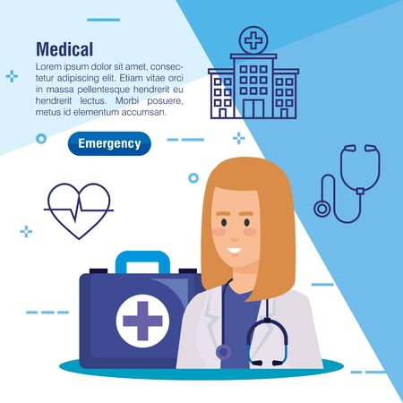 woman doctor with stethoscope equipment and medicine vector illustration Illustration