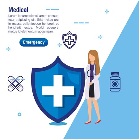 woman doctor service with stethoscope and shield vector illustration