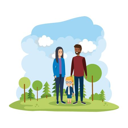 interracial parents couple with son in the park scene vector illustration design Stock Vector - 125277857