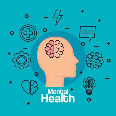 silhouette man head with brain to health vector illustration
