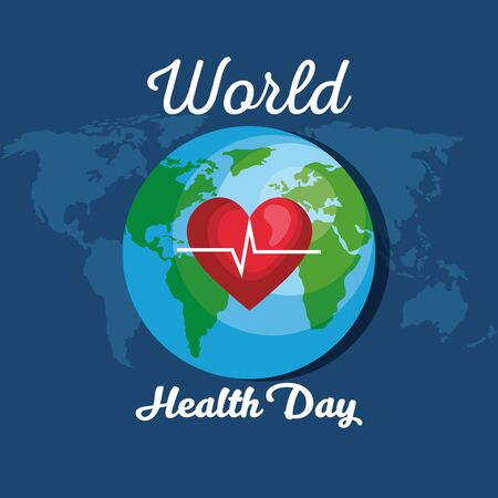 earth planet with heartbeat to health day vector illustration Ilustrace