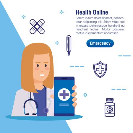 woman doctor with smartphone and medical service vector illustration Stock Illustratie