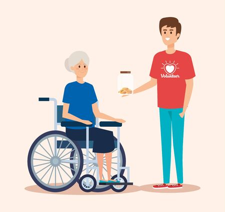 boy volunteer with moneybox and old woman vector illustration